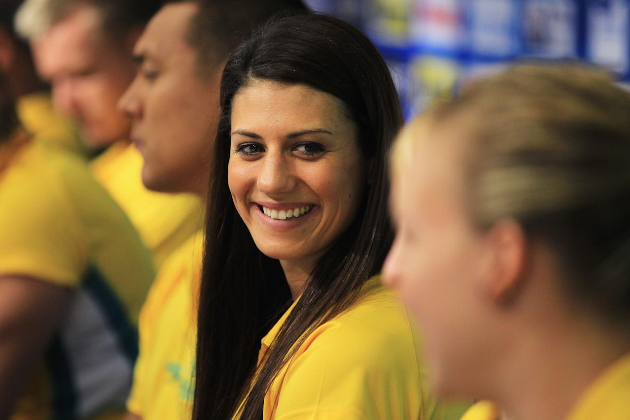 Swimmer Stephanie Rice attends an Australian team press conference during Day Seven of the 14th FINA World Championships at the Oriental Sports Center on July 22, 2011 in Shanghai, China.  (Photo by Ezra Shaw/Getty Images)