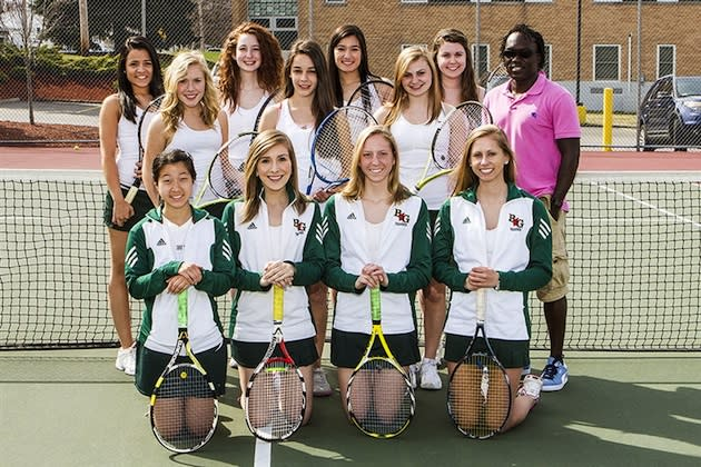 The Bishop Guertin girls tennis team, with Briana Leonard on the front right — BGHS.org