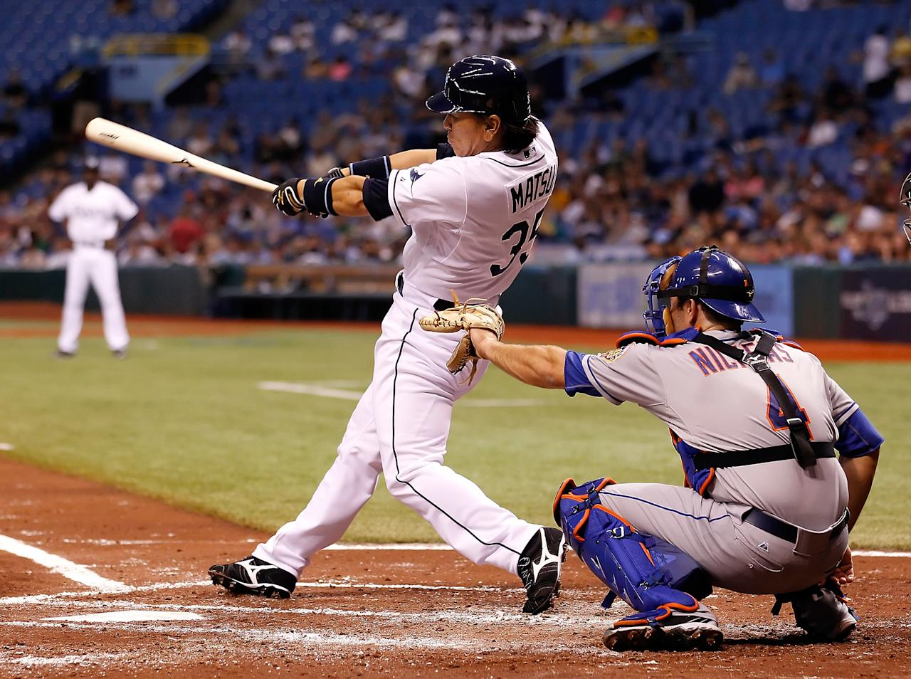 ST. PETERSBURG - JUNE 13:  Designated hitter Hideki Matsui #35 of the Tampa Bay Rays fouls off a pitch against the New York Mets during the game at Tropicana Field on June 13, 2012 in St. Petersburg, Florida.  (Photo by J. Meric/Getty Images)