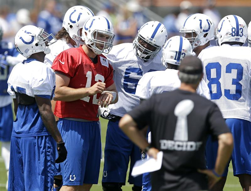 Colts open camp with WR Wayne back on field