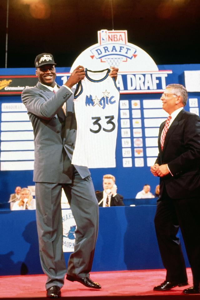 The Orlando Magic drafted Shaquille O'Neal with the first overall pick in the 1992 NBA Draft. (Getty Images)