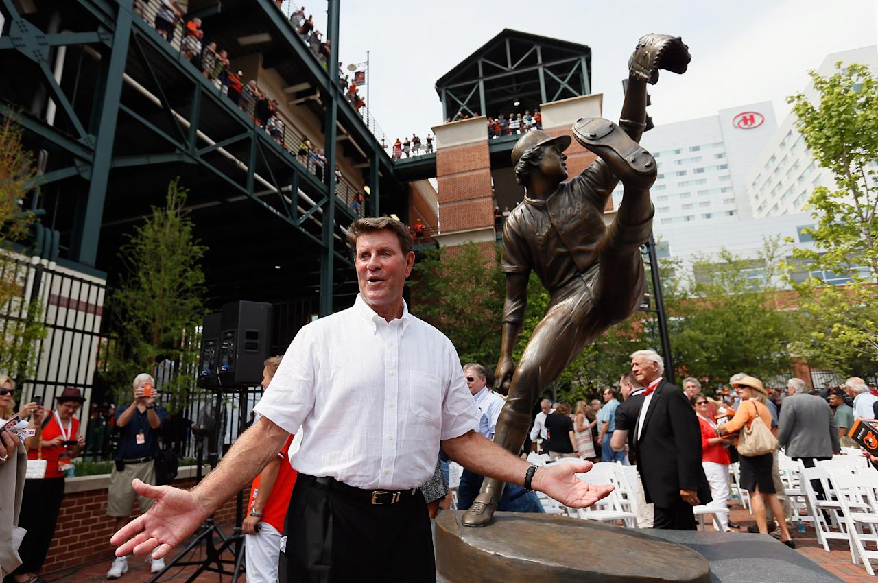 BALTIMORE, MD - JULY 14: Former Baltimore Orioles player Jim Palmer poses for a photo after the team unvieled a statue of the hall of fame pitcher before the start of the Orioles and Detriot Tigers game at Oriole Park at Camden Yards on July 14, 2012 in Baltimore, Maryland.  (Photo by Rob Carr/Getty Images)