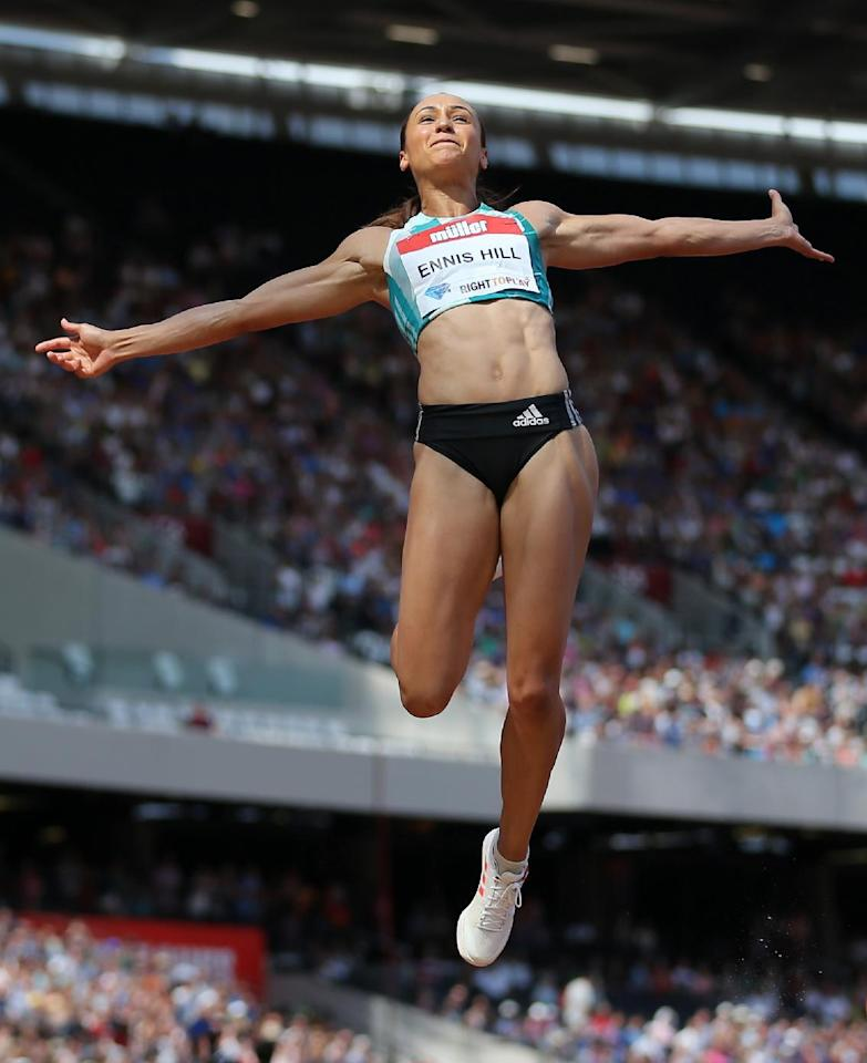 Britain Athletics - 2016 London Anniversary Games - Queen Elizabeth Olympic Park, Stratford, London - 23/7/16 Great Britain's Jessica Ennis Hill in action during the long jump Action Images via Reuters / Matthew Childs Livepic