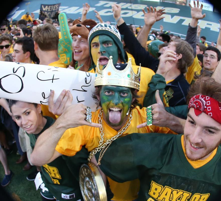 Baylor freshman gather near the end zone before their NCAA college football game against West Virginia, Saturday, Oct.  5, 2013, in Waco, Texas. (AP Photo/Rod Aydelotte)