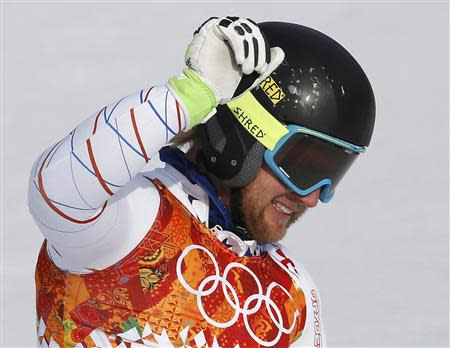Second-placed Andrew Weibrecht of the U.S. reacts in the finish area after competing in the men's alpine skiing Super-G competition during the 2014 Sochi Winter Olympics at the Rosa Khutor Alpine Center