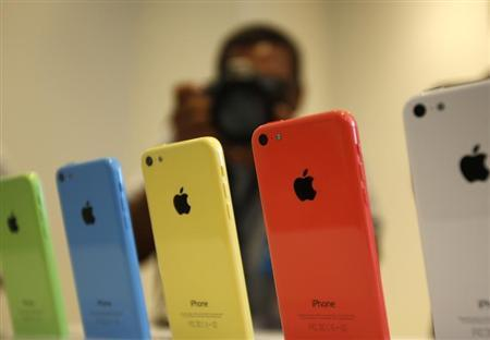 The five colors of the new iPhone 5C are seen after Apple Inc's media event in Cupertino