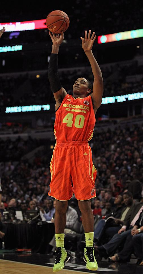 CHICAGO, IL - MARCH 28: Gary Harris #40 of the East team shoots during the 2012 McDonald's All American Game at United Center on March 28, 2012 in Chicago, Illinois. (Photo by Jonathan Daniel/Getty Images)