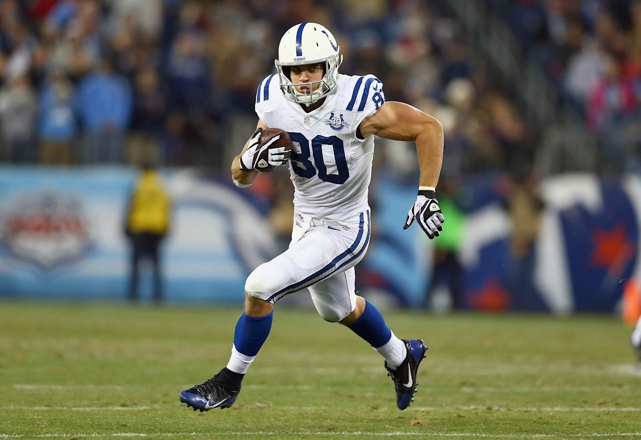 NASHVILLE, TN - NOVEMBER 14: Coby Fleener#12 of the Indianapolis Colts runs with the ball during the game against the Tennessee Titans at LP Field on November 14, 2013 in Nashville, Tennessee. (Photo by Andy Lyons/Getty Images)