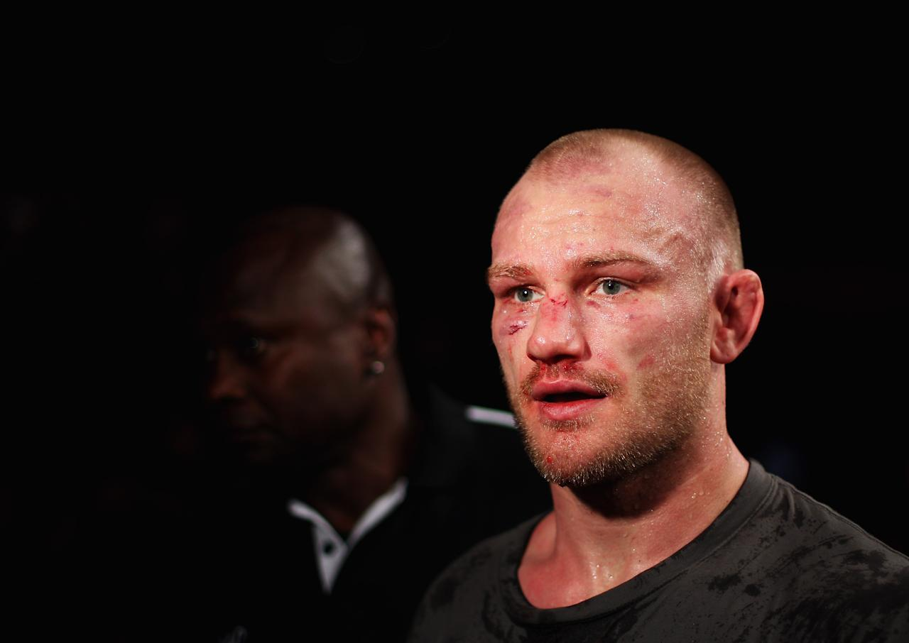 SYDNEY, AUSTRALIA - MARCH 03:  Martin Kampmann of Denmark leaves the anena after his victory during the UFC On FX welterweight bout between Martin Kampmann and Thiago Alves at Allphones Arena on March 3, 2012 in Sydney, Australia.  (Photo by Mark Kolbe/Getty Images)