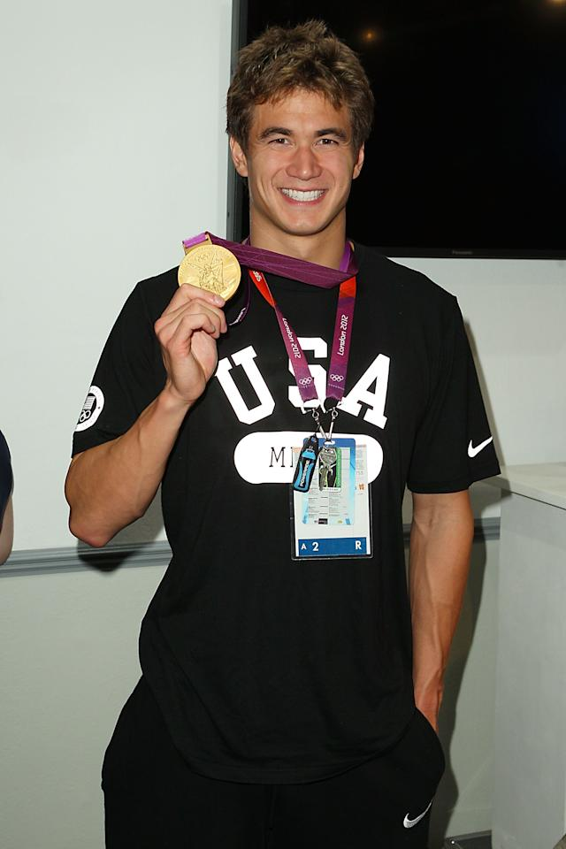 LONDON, ENGLAND - AUGUST 04:  U.S. Olympian Nathan Adrian visits the USA House at the Royal College of Art on August 4, 2012 in London, England.  (Photo by Joe Scarnici/Getty Images for USOC)