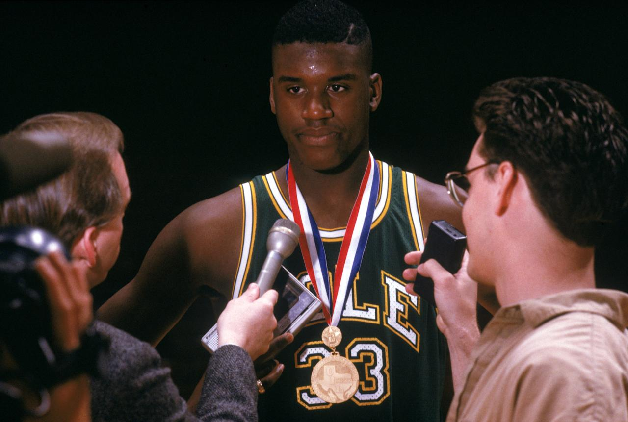 A seventeen-year-old Shaquille O'Neal being interviewed after a game for the Cole High School Cougars in San Antonio. (Getty Images)