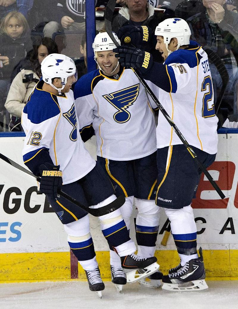 Stewart has 3 goals, assist as Blues rout Oilers