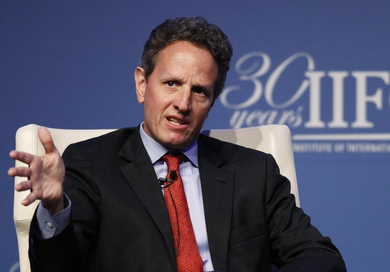 U.S. Treasury Secretary Geithner speaks at the Institute of International Finance's annual meeting in Tokyo