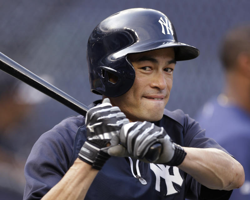 Ichiro on crowded Yankees' outfield: 'Oops'