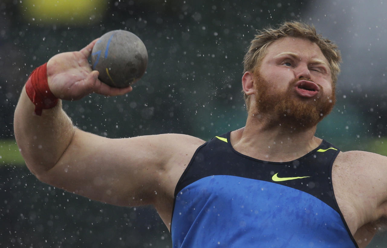 Kurtis Roberts throws during the men's shot put competition at the U.S. Olympic Track and Field Trials Saturday, June 23, 2012, in Eugene, Ore. (AP Photo/Matt Slocum)