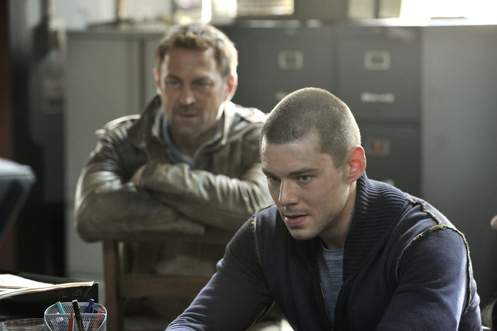 "Grant Bowler as Joshua Nolan and Brian J. Smith as Gordon McClintock in the ""Defiance"" episode, ""I Just Wasn't Made for These Times."""