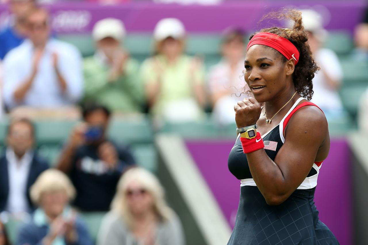 LONDON, ENGLAND - AUGUST 02:  Serena Williams of the United States celebrates after defeating Caroline Wozniacki of Denmark in the Quarterfinals of Women's Singles Tennis on Day 6 of the London 2012 Olympic Games at Wimbledon on August 2, 2012 in London, England.  (Photo by Clive Brunskill/Getty Images)