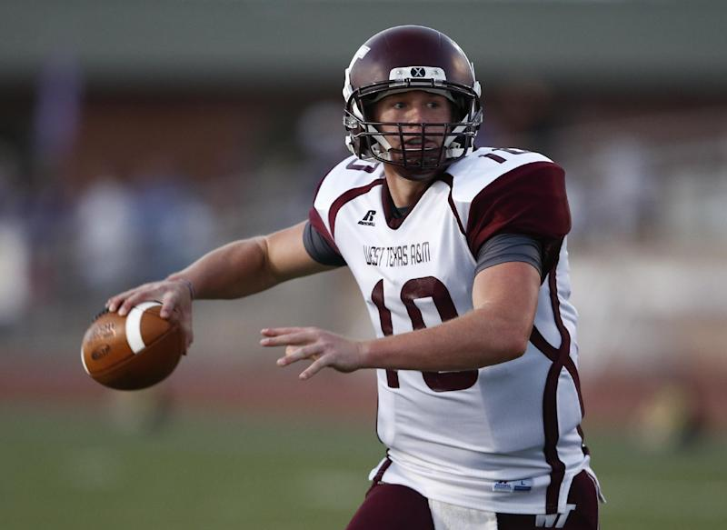 In this Oct. 12, 2013 file photo, West Texas A&M quarterback Dustin Vaughan passes the ball against Tarleton State during the first half of an NCAA college football game in Stephenville, Texas. Vaughan and Bloomsburg running back Franklyn Quiteh have been selected to The Associated Press Little All-America team, Thursday, Dec. 19, 2013, which honors the top players in Division II, III and NAIA