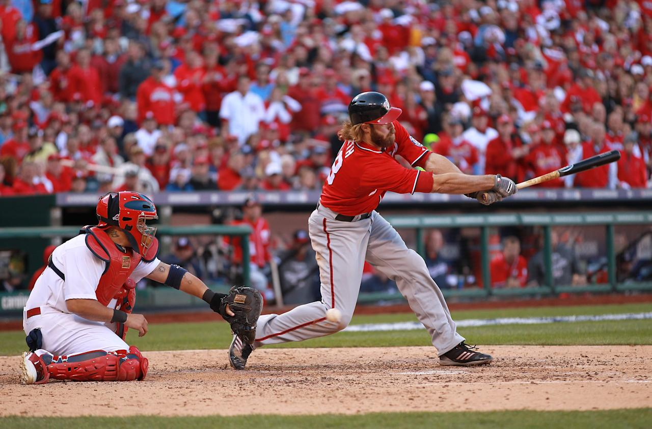 ST LOUIS, MO - OCTOBER 07: Jayson Werth of the Washington Nationals strikes out to end the top of the sixth inning against the St Louis Cardinals during Game One of the National League Division Series at Busch Stadium on October 7, 2012 in St Louis, Missouri.  (Photo by Dilip Vishwanat/Getty Images)