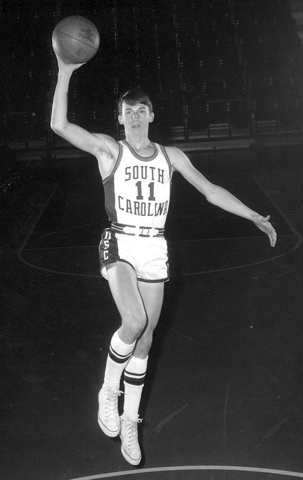 John Roche, guard of the University of South Carolina Gamecocks men's basketball team poses for a photo at Carolina Coliseum in Columbia, South Carolina, circa 1968-1971.