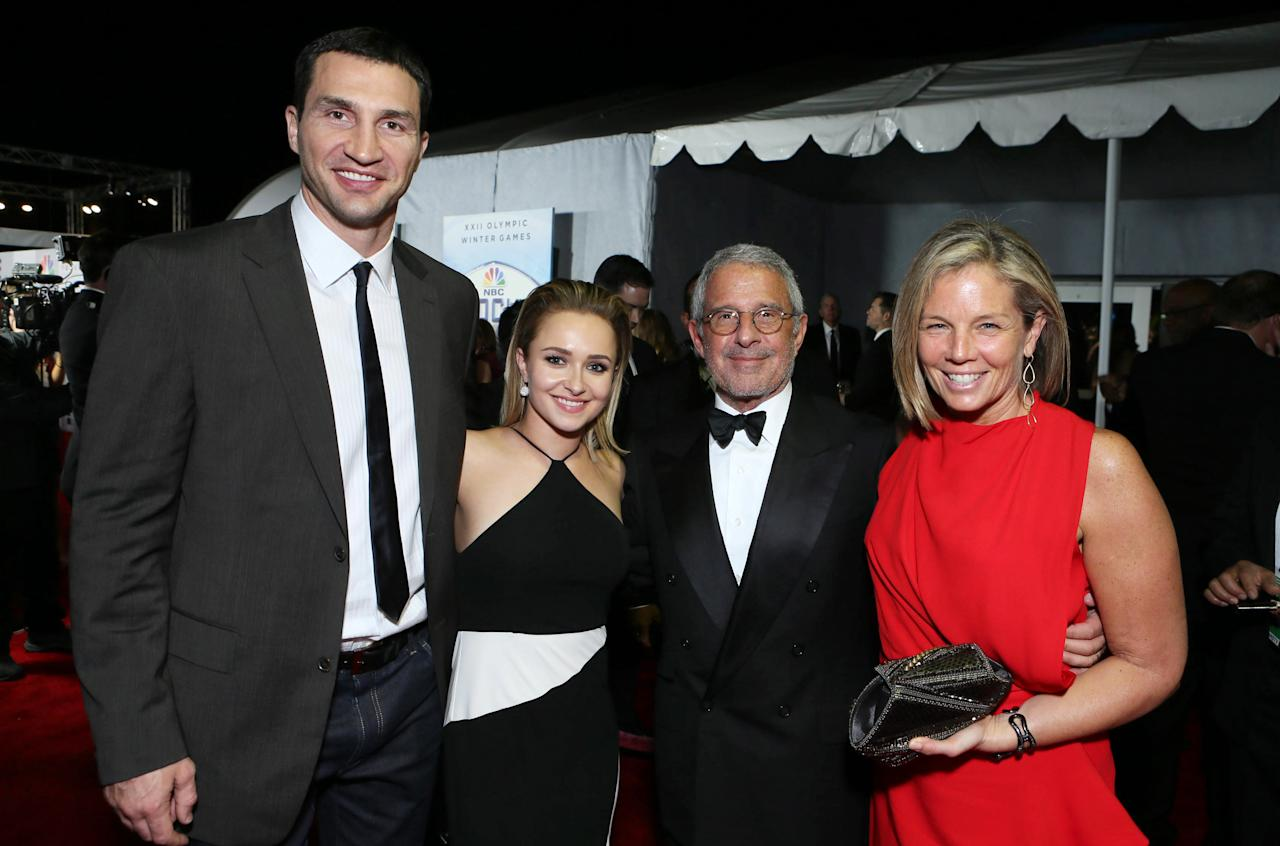 Wladimir Klitschko, Hayden Panettiere, Universal's Ron Meyer and Kelly Meyer seen at the 71st Annual Golden Globe Awards – NBC/Universal/Focus Features/E! Entertainment/Chrysler After Party on Sunday, Jan. 12, 2014 in Los Angeles. (Photo by Alexandra Wyman/Invision for Focus Features/AP Images)