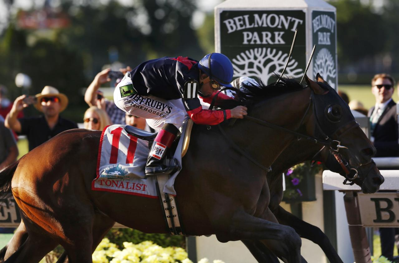 Tonalist (11), with jockey Joel Rosario in the irons, runs with Commissioner, with jockey Javier Castellano in the irons, before Tonalist won the 146th running of the Belmont Stakes at Belmont Park in Elmont, New York June 7, 2014. REUTERS/Carlo Allegri (UNITED STATES - Tags: SPORT HORSE RACING TPX IMAGES OF THE DAY)