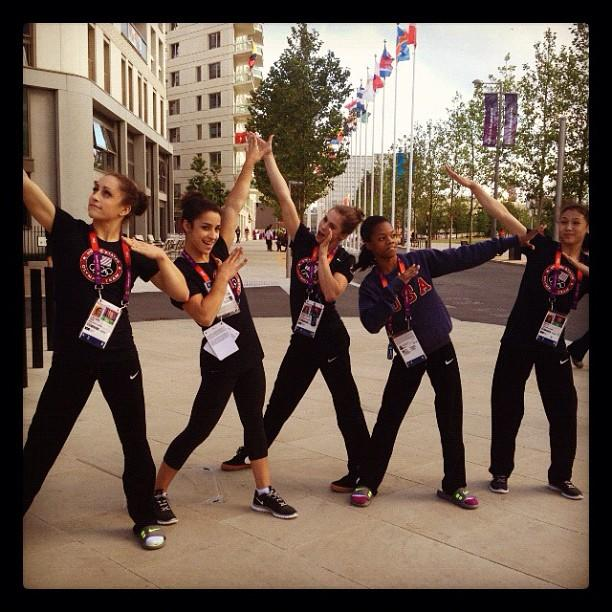 Channeling our inner Bolt..⚡ #Usain where you at?? @jordyn_wieber