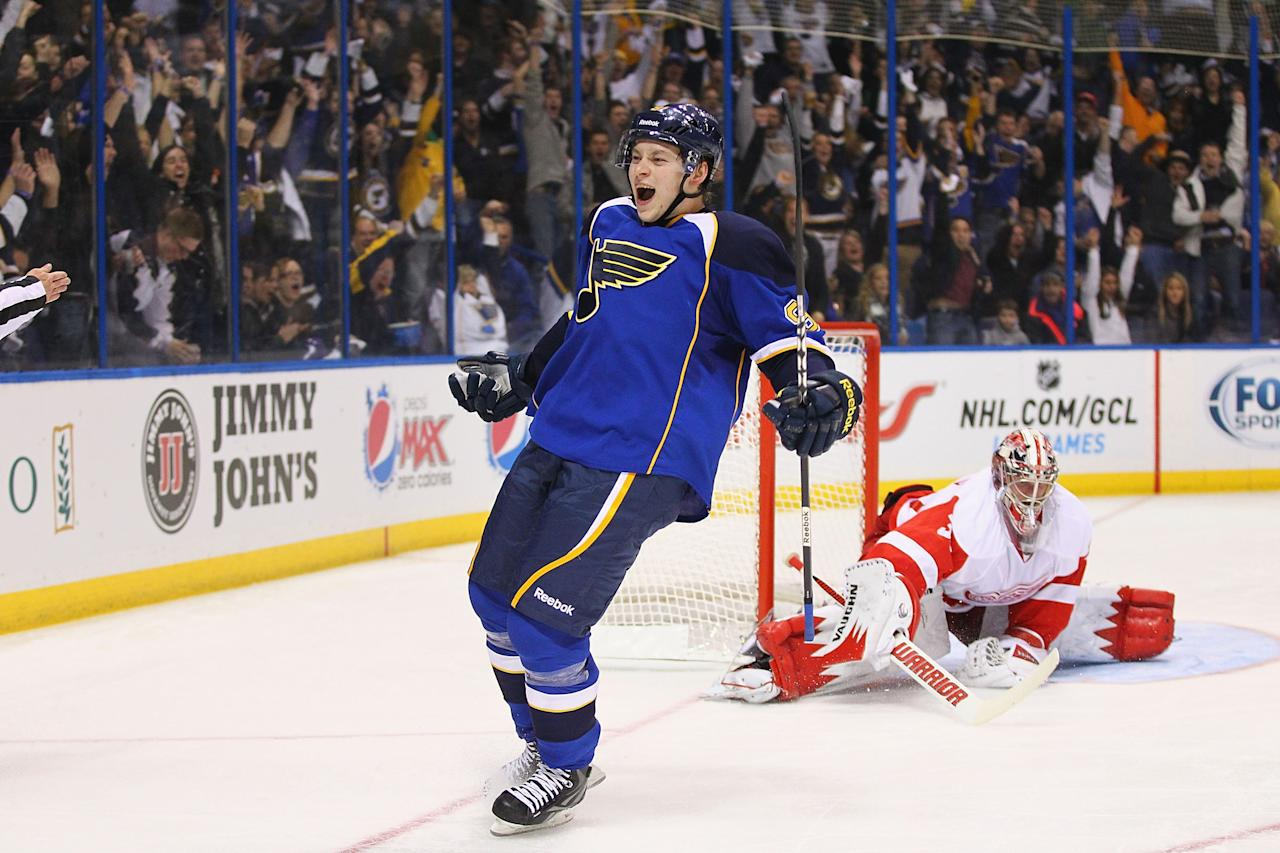ST. LOUIS, MO - JANUARY 19: Vladimir Tarasenko #91 of the St. Louis Blues celebrates his first NHL career goal against Jimmy Howard #35 of the Detroit Red wings at the Scottrade Center on January 19, 2013 in St. Louis, Missouri.  (Photo by Dilip Vishwanat/Getty Images)