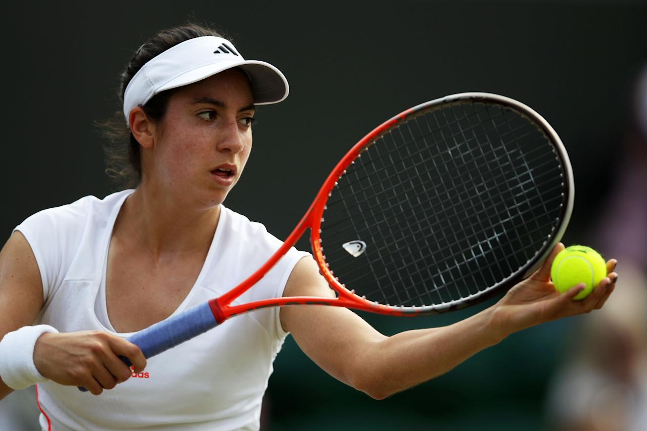 LONDON, ENGLAND - JUNE 29:  Christina McHale of USA serves the ball during her Ladies' singles third round match against Angelique Kerber of Germany on day five of the Wimbledon Lawn Tennis Championships at the All England Lawn Tennis and Croquet Club on June 29, 2012 in London, England.  (Photo by Clive Rose/Getty Images)
