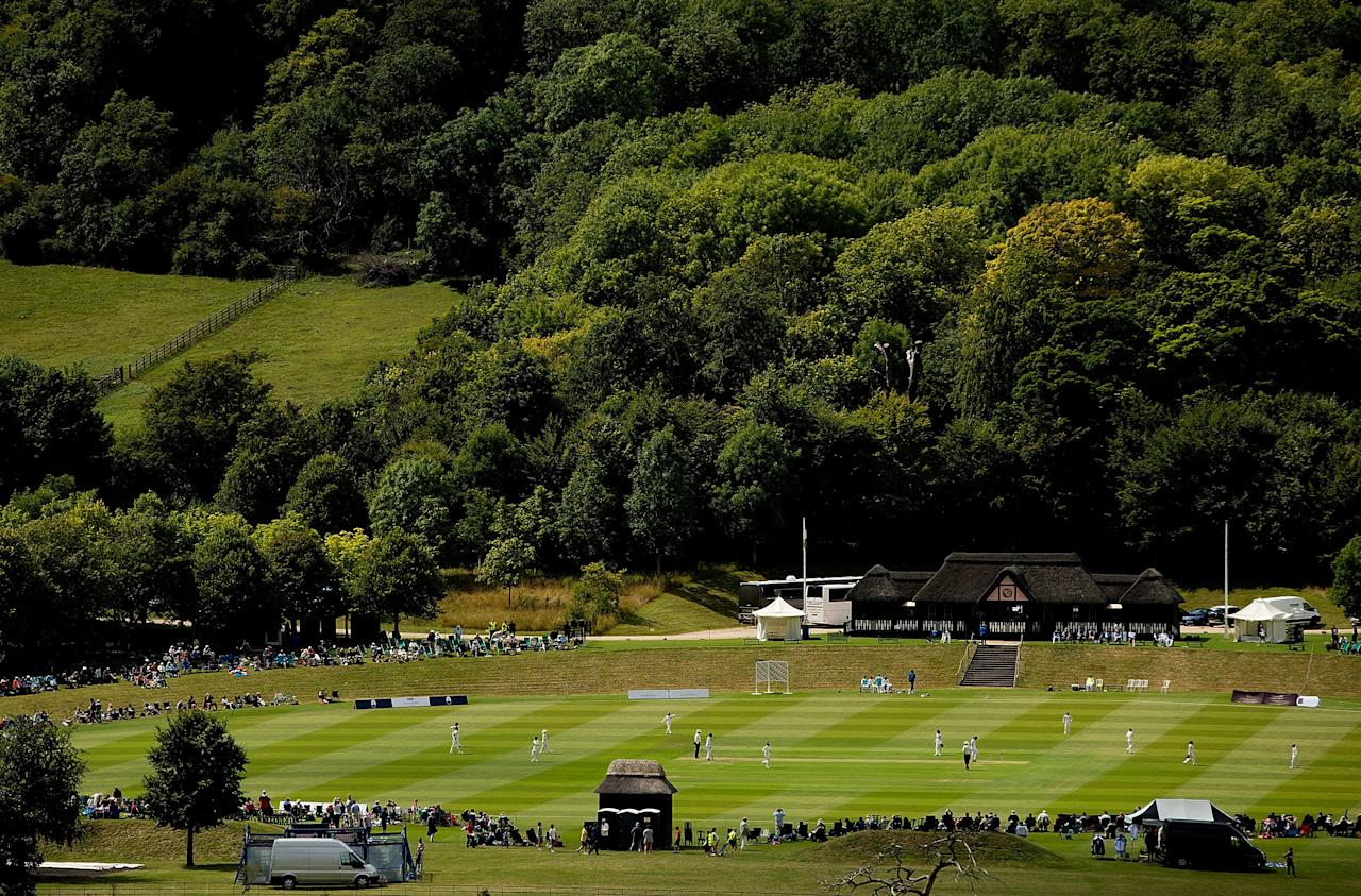 HIGH WYCOMBE, ENGLAND - AUGUST 13:  A general view of play during day one of Women's test match between England and India at Wormsley Cricket Ground on August 13, 2014 in High Wycombe, England.  (Photo by Ben Hoskins/Getty Images)