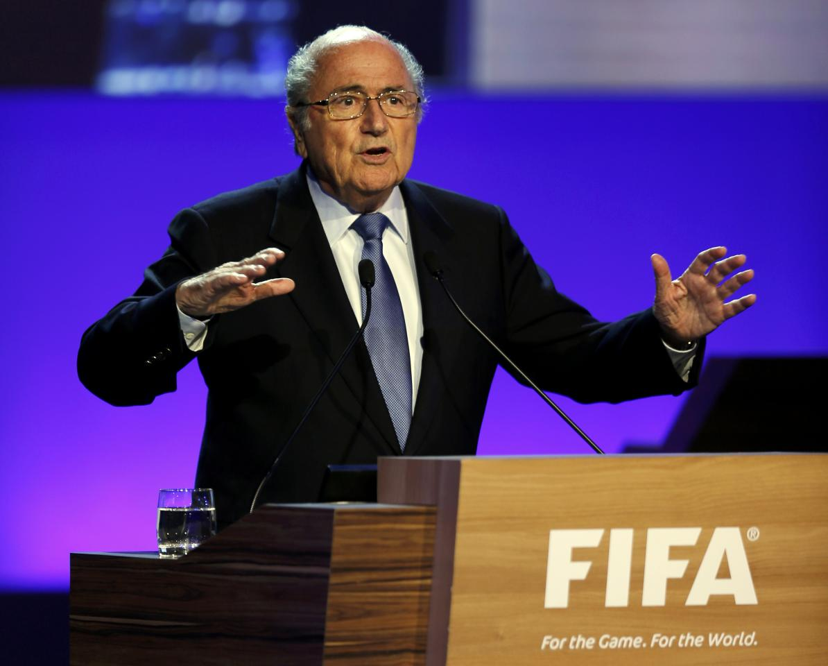 FIFA President Sepp Blatter delivers a speech during the opening ceremony of the 65th FIFA Congress in Sao Paulo June 11, 2014. REUTERS/Paulo Whitaker (BRAZIL - Tags: SPORT SOCCER WORLD CUP)