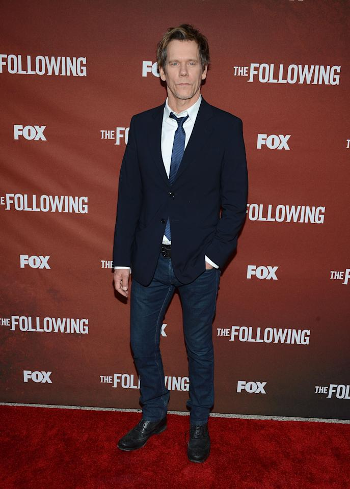 """NORTH HOLLYWOOD, CA - APRIL 29:  Actor Kevin Bacon attends the screening of Fox's """"The Following"""" at Leonard H. Goldenson Theatre on April 29, 2013 in North Hollywood, California.  (Photo by Jason Kempin/Getty Images)"""