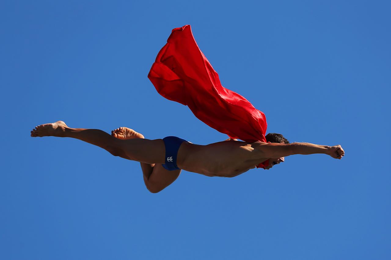 BARCELONA, SPAIN - JULY 31: Michal Navratil of the Czech Republic competes during the Men's 27m High Diving on day twelve of the 15th FINA World Championships at Moll de la Fusta on July 31, 2013 in Barcelona, Spain. (Photo by Clive Rose/Getty Images)
