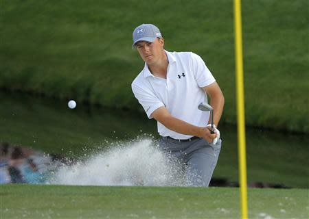 U.S. golfer Jordan Spieth hits from the sand on the 16th hole during the second round of the Masters golf tournament at the Augusta National Golf Club in Augusta