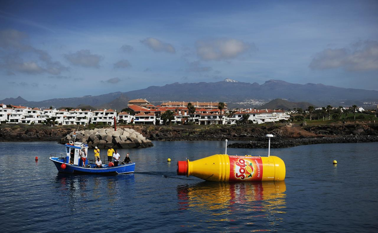 TENERIFE, SPAIN - MARCH 13: Solo Launches the World's Largest Message in a Bottle at Marina San Miguel on March 13, 2013 in Tenerife, Spain. (Photo by Stuart Wilson/Getty Images for Solo)