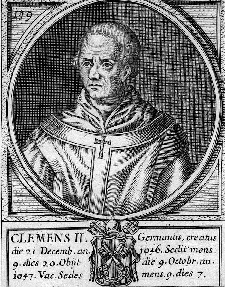 Circa 1047 ; Bishop Suidger of Bamburg, who became Pope Clement II, ( - 1047), Pope from 1046 to 1047.   (Photo by Hulton Archive/Getty Images)