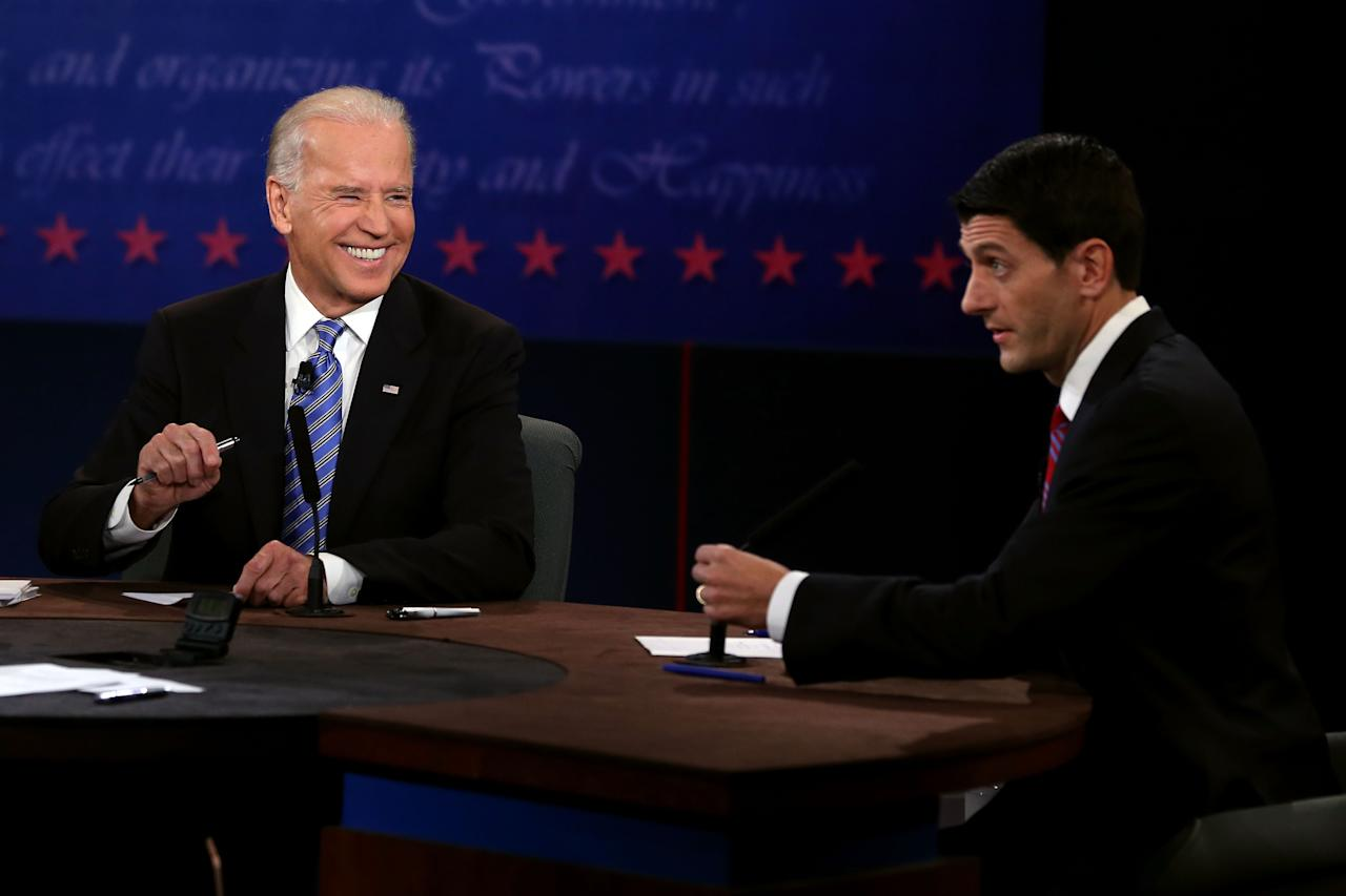 DANVILLE, KY - OCTOBER 11:  U.S. Vice President Joe Biden (L) listens as Republican vice presidential candidate U.S. Rep. Paul Ryan (R-WI) speaks in the vice presidential debate  at Centre College October 11, 2012 in Danville, Kentucky.  This is the second of four debates during the presidential election season and the only debate between the vice presidential candidates before the closely-contested election November 6.  (Photo by Alex Wong/Getty Images)