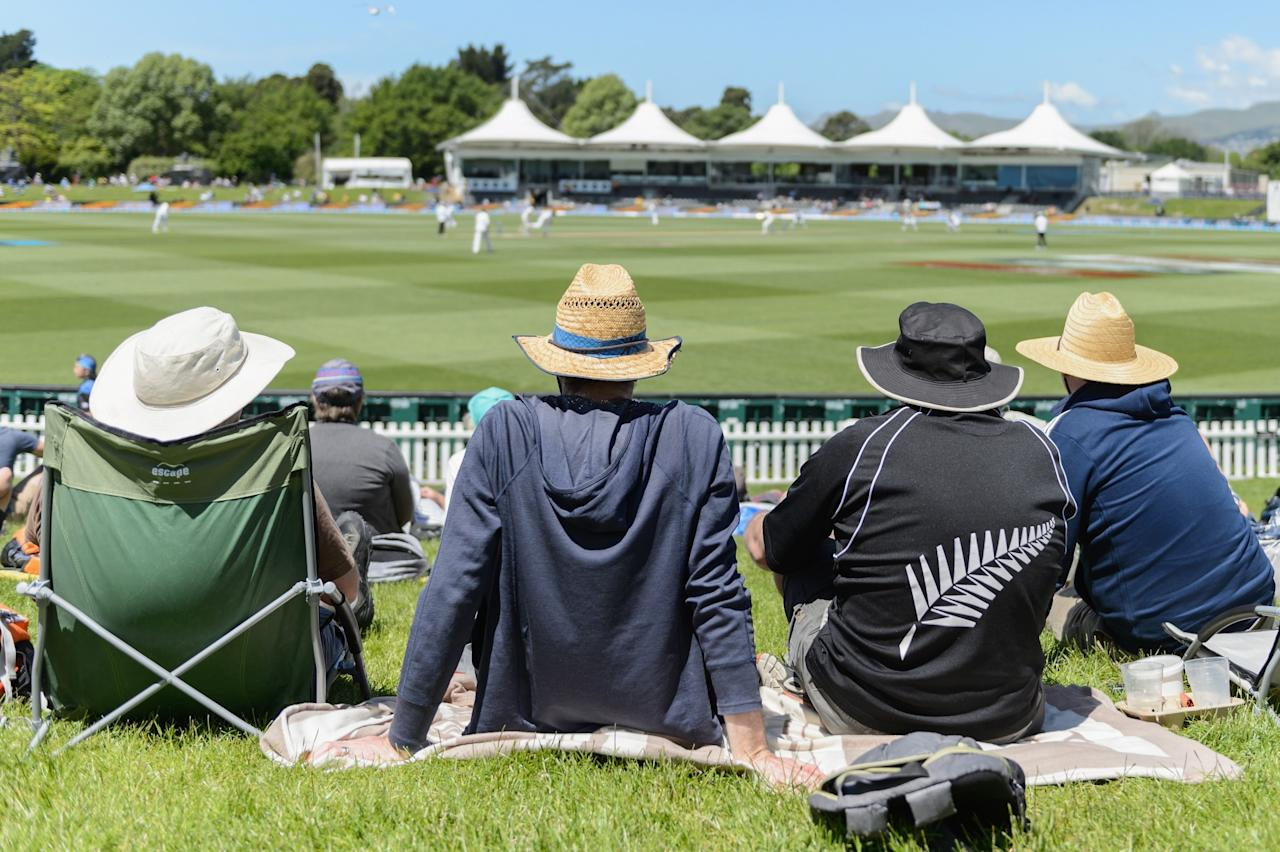 <p>Spectators look on during day four of the First Test between New Zealand and Pakistan at Hagley Oval on November 20, 2016 in Christchurch, New Zealand. </p>