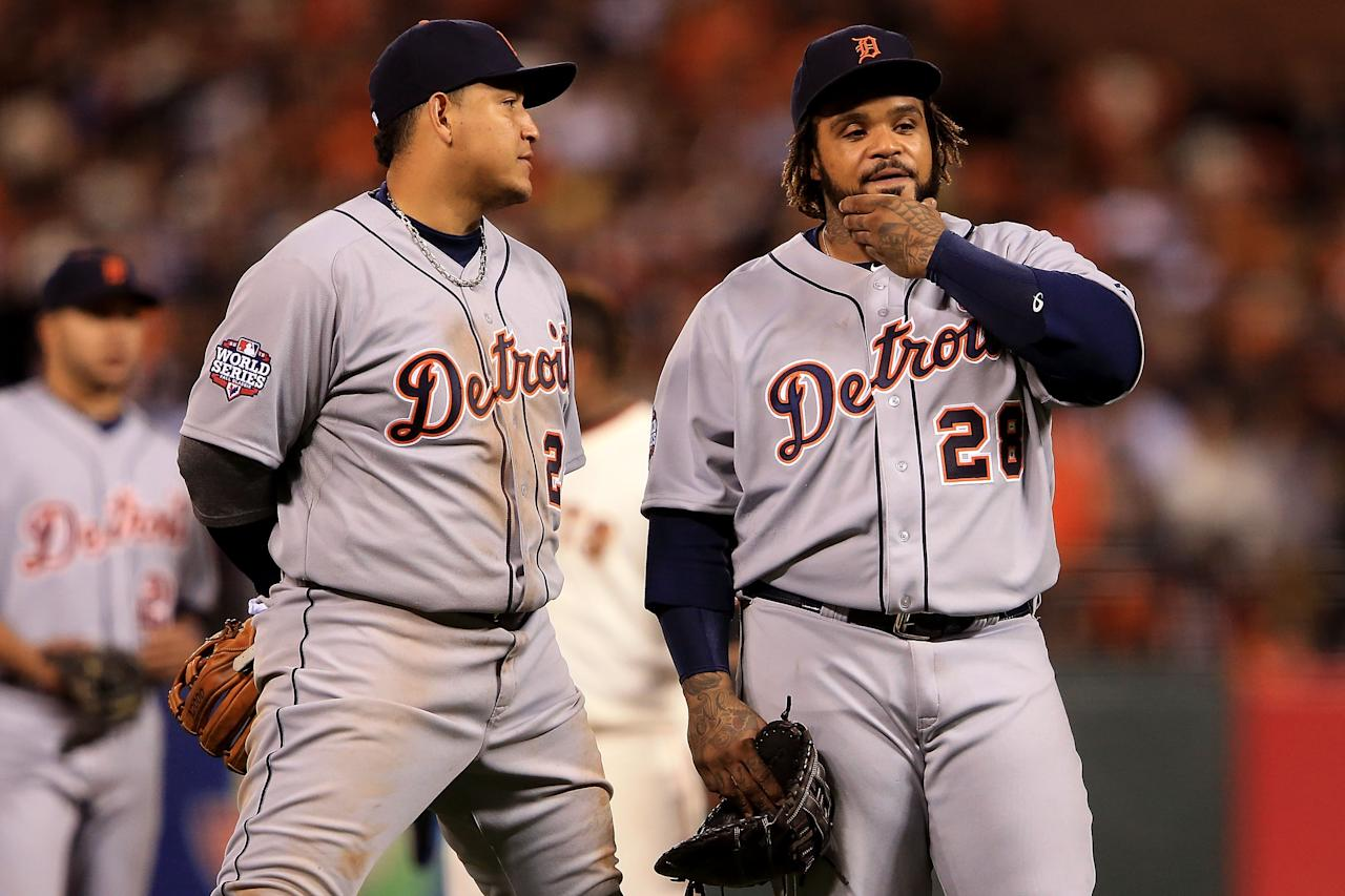 SAN FRANCISCO, CA - OCTOBER 24:  (L-R) Miguel Cabrera #24 and Prince Fielder #28 of the Detroit Tigers talk on the field during a pitching change against the San Francisco Giants during Game One of the Major League Baseball World Series at AT&T Park on October 24, 2012 in San Francisco, California.  (Photo by Doug Pensinger/Getty Images)