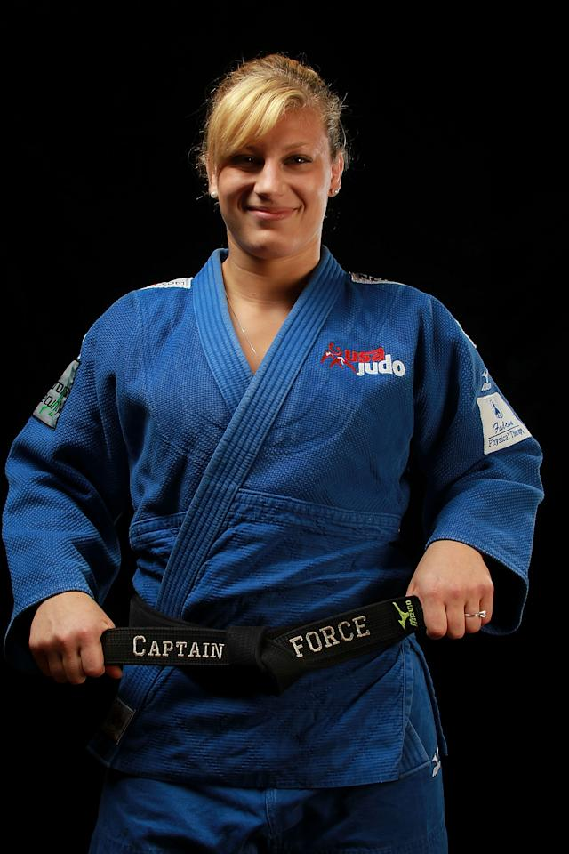 Judo athlete, Kayla Harrison poses for a portrait during the 2012 Team USA Media Summit on May 13, 2012 in Dallas, Texas.  (Photo by Ronald Martinez/Getty Images)