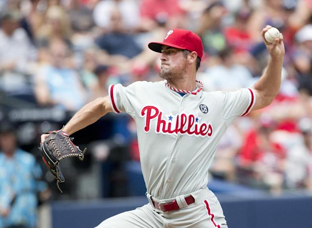 Cole Hamels pitched six innings of no-hit ball Monday for the Phillies. (AP)