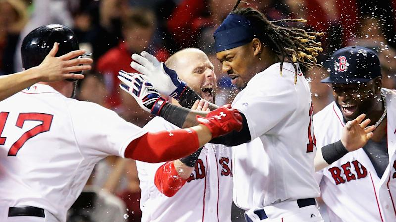 Image result for red sox hanley walk off gif