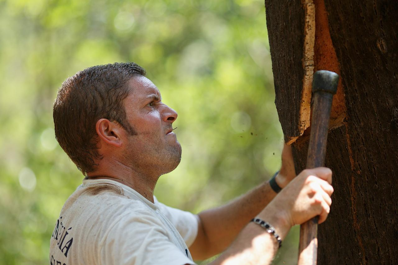 ALCALA DE LOS GAZULES, SPAIN - JULY 03: Axeman 'Hacha' Bartolome Gallego, 34, removes the bark of a cork oak at Parque Natural de los Alcornocales on July 3, 2013 near Alcala de los Gazules, Spain. Spain and Portugal are the largest producers of cork in the world with Los Alcornocales Natural Park in the Iberian Peninsula being the leading region for production. The ancient cork cultivated in these oak forests is a major world export, financially benefitting the region. The bark from the oak is harvested every nine years, through traditional methods. The best planks are sourced for wine bottling corks while the rest is processed into agglomerate cork. (Photo by Pablo Blazquez Dominguez/Getty Images)