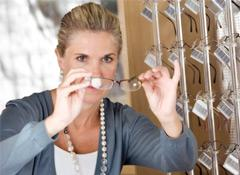 Woman shopping for glasses