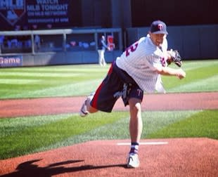 Kevin Love fires a first pitch at a recent Twins game — Twitter