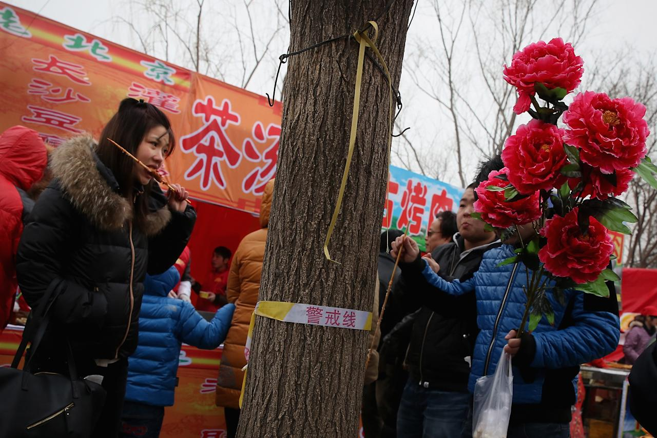BEIJING, CHINA - FEBRUARY 11:  A woman eats mutton skewer at a Spring Festival Temple Fair for celebrating Chinese Lunar New Year of Snake on February 11, 2013 in Beijing, China. The Chinese Lunar New Year of Snake also known as the Spring Festival, which is based on the Lunisolar Chinese calendar, is celebrated from the first day of the first month of the lunar year and ends with Lantern Festival on the Fifteenth day.  (Photo by Feng Li/Getty Images)