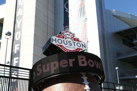 Jan 7, 2017; Houston, TX, USA; A countdown to Super Bowl LI scrolls outside of NRG Stadium before the AFC Wild Card playoff football game between the Houston Texans and the Oakland Raiders. Mandatory Credit: Troy Taormina-USA TODAY Sports