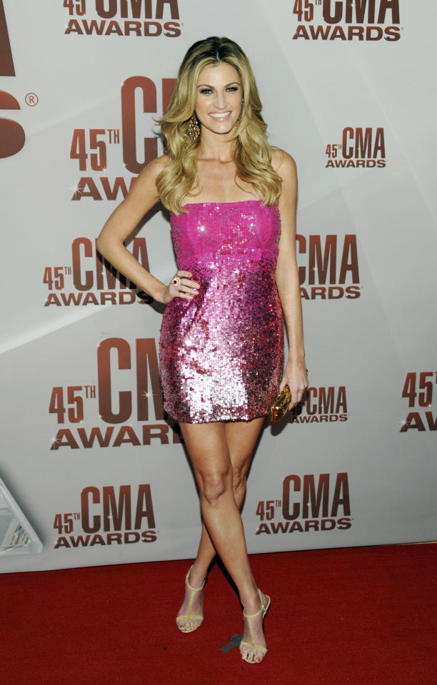 Erin Andrews arrives at the 45th Annual CMA Awards in Nashville on Wednesday, Nov. 9, 2011. (AP Photo/Evan Agostini)