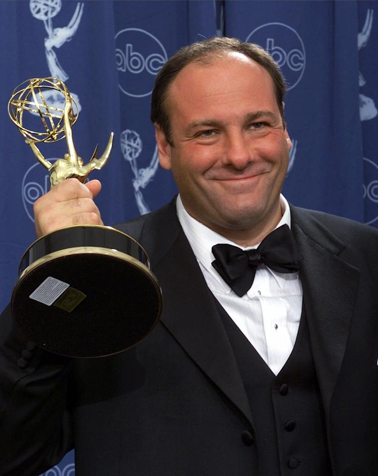 "FILE - This Sept. 10, 2000 file photo shows actor James Gandolfini with his award for outstanding lead in a drama series for his work in ""The Sopranos"" at the 52nd Annual Primetime Emmy Awards in Los Angeles. Gandolfini, whose portrayal of a brutal, emotionally delicate mob boss in HBO's ""The Sopranos"" helped create one of TV's greatest drama series and turned the mobster stereotype on its head, died Wednesday, June 19, 2013 in Italy. He was 51. (AP Photo/Kevork Djansezian, file)"