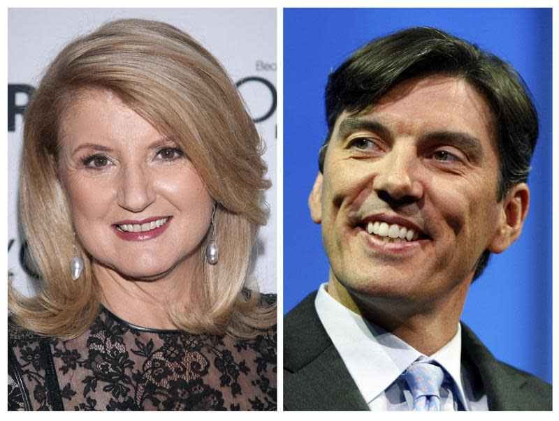 File photos of Arianna Huffington and Chairman and CEO of AOL Tim Armstrong